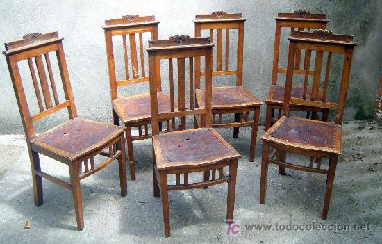 Lote de 6 sillas de roble modernistas ppios s x comprar for Muebles modernistas