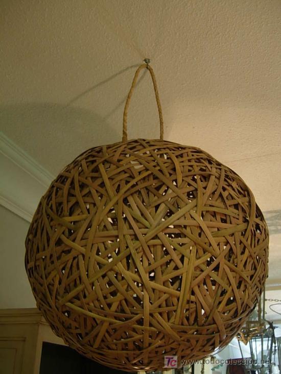 ORIGINAL LAMPARA DE TECHO HECHA CON CAÑAS (Antigüedades - Iluminación - Lámparas Antiguas)