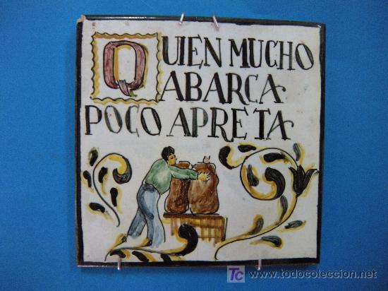 Azulejo pintado a mano con refran comprar azulejos antiguos en todocoleccion 20328822 - Azulejos de segunda mano ...