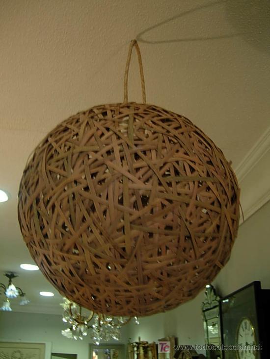 Antigüedades: ORIGINAL LAMPARA DE TECHO HECHA CON CAÑAS - Foto 2 - 26759601
