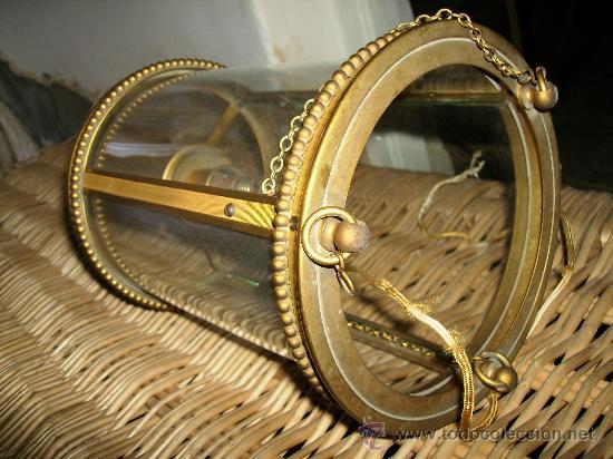 Antigüedades: bonito farol de bronce años 40 cilindrico cristal curvo, unos 25cmsd y de ancho unos 14 - Foto 2 - 27527107