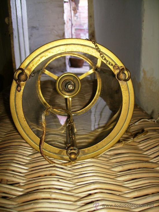 Antigüedades: bonito farol de bronce años 40 cilindrico cristal curvo, unos 25cmsd y de ancho unos 14 - Foto 3 - 27527107