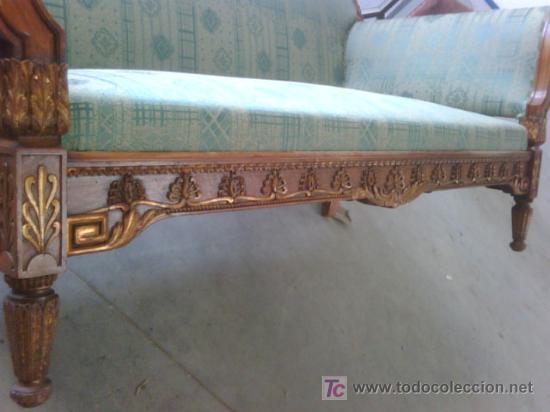Antigüedades: SOFA ESTILO IMPERIO MADERA TALLADA Y DORADA - Foto 4 - 26295563