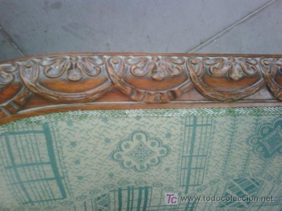 Antigüedades: SOFA ESTILO IMPERIO MADERA TALLADA Y DORADA - Foto 2 - 26295563