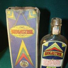 Antigüedades: BIOGASTROL - LABORATORIO EGABRO - CORDOBA - FRASCO FARMACIA - ANTIGUO - . Lote 27083014