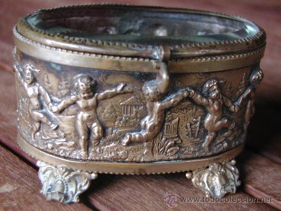 ANTIGUA CAJA JOYERO COFRE FRANCESA DE EPOCA NAPOLEON III FINALES DEL S.XIX. (Antigüedades - Varios)