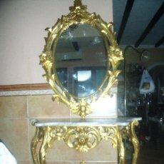 Antigüedades: PRECIOSA CONSOLA ISABELINA EN MADERA Y PAN DE ORO CON MARMOL BLANCO .. Lote 158779330