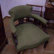 Antigüedades: SILLON INGLES, VICTORIANA DE CAOBA, EPOCA 1890. Lote 27625844