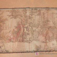 Antigüedades: TAPIZ MECANICO DE LOS AÑOS 40S. ESCENA GALANTE. MIDE 95 X 145 CM.. Lote 23462698