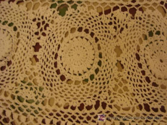 Antigüedades: 135 diametro, antiguo mantel de encaje realizado a mano, - Foto 5 - 21130514