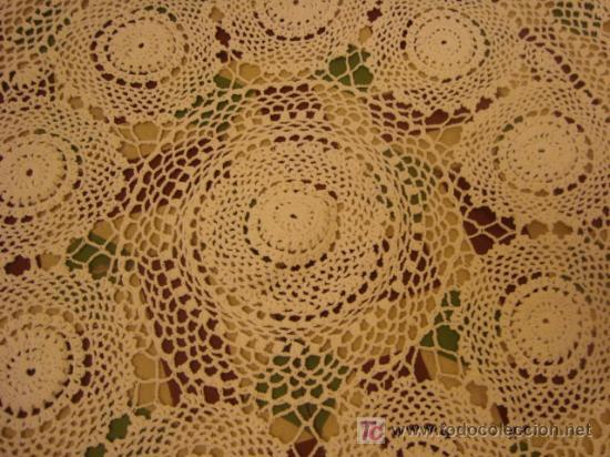 Antigüedades: 135 diametro, antiguo mantel de encaje realizado a mano, - Foto 4 - 21130514