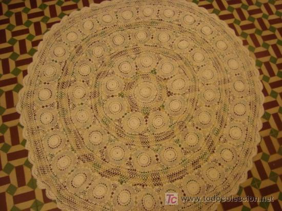 Antigüedades: 135 diametro, antiguo mantel de encaje realizado a mano, - Foto 3 - 21130514