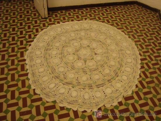 Antigüedades: 135 diametro, antiguo mantel de encaje realizado a mano, - Foto 2 - 21130514