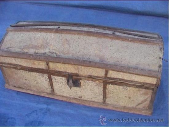 BAUL PIEL VACA AJUAR MONJAS SANTA MARIA DE CASBAS SXIX (Antigüedades - Muebles Antiguos - Baúles Antiguos)