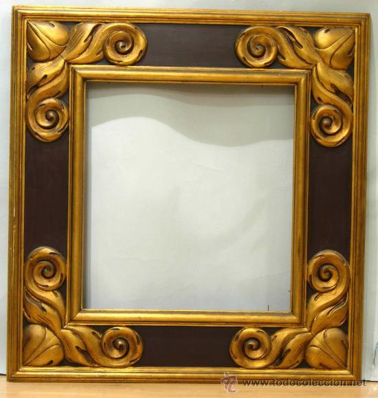 Marco en madera tallada dorada y policromada s comprar marcos antiguos de cuadros en - Marcos de madera ...