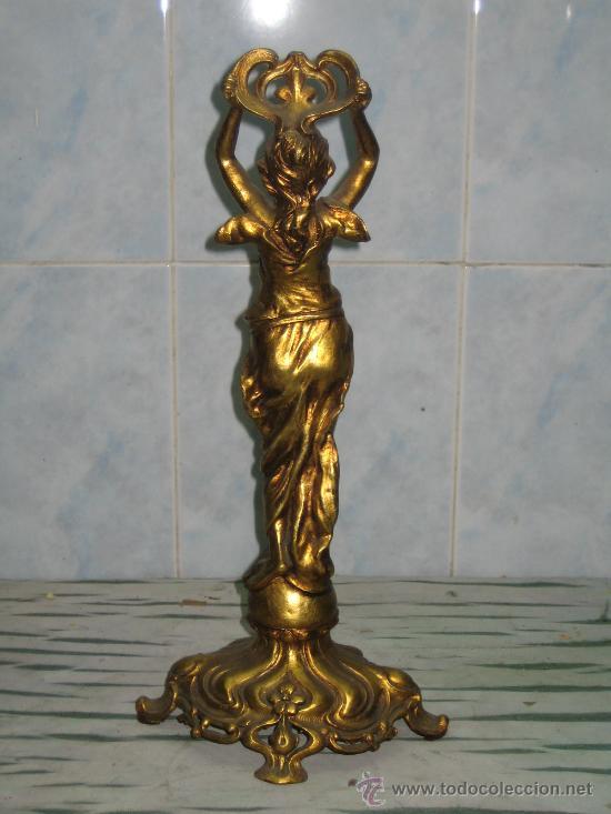 Antigüedades: FIGURA FEMENINA.MODERNISTA.CALAMINA DORADA - Foto 4 - 21305051