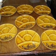 Antigüedades: OCHO PLATOS DE PORCELANA FRANCESA -GIEN. Lote 21353768