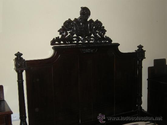 Antigüedades: ESPECTACULAR CAMA DE MATRIMONIO DE ESTILO ALFONSINO. FINALES XIX. CAOBA MACIZA. - Foto 7 - 244702925