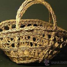 Antigüedades: CESTA DE ESPARTO RUSTICA. Lote 27228008