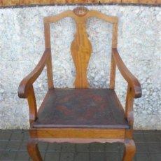 Antigüedades: SILLON DE ROBLE Y ASIENTO DE CUERO. Lote 21456893
