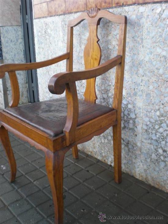 Antigüedades: sillon de roble y asiento de cuero - Foto 2 - 21456893