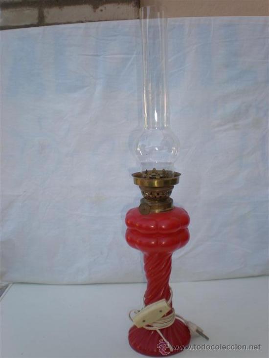 QUINQUE DE CRISTAL ROJO CABLEADO (Antigüedades - Iluminación - Quinqués Antiguos)