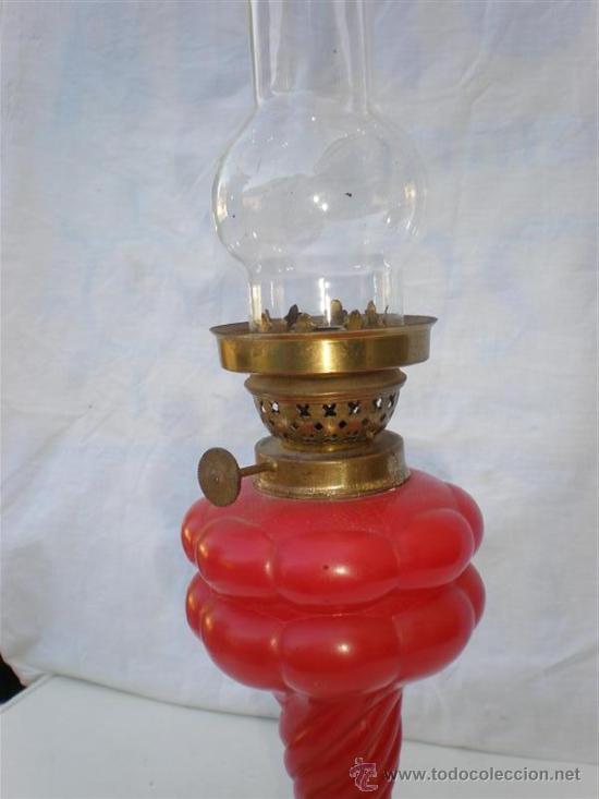 Antigüedades: quinque de cristal rojo cableado - Foto 2 - 21463750