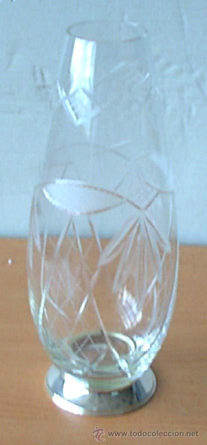 FLORERO CRISTAL CON LA BASE DE PLATA (Antigüedades - Cristal y Vidrio - Otros)
