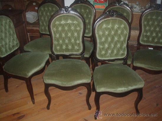 Antigüedades: Silleria antigua isabelina. De haya, terciopelo. 12 sillas - Foto 2 - 26638671