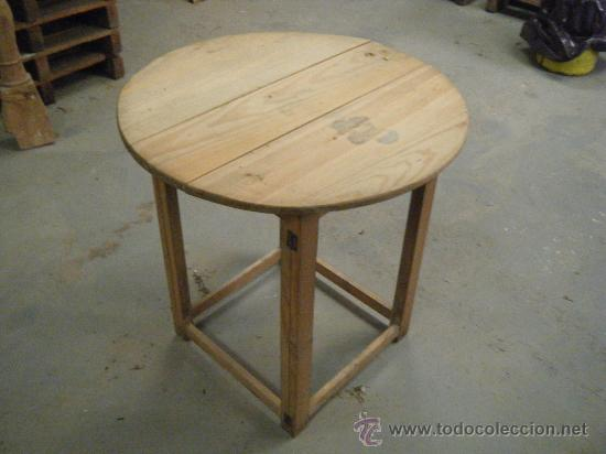 Antigua mesa redonda o camilla plegable pino comprar mesas antiguas en todocoleccion 26950509 - Mesa camilla redonda ...