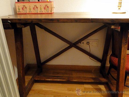 Antigüedades: Mesa de nogal antigua, limpia y encerada. - Foto 5 - 89695572