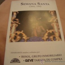 Antigüedades: SEMANA SANTA CADIZ 1992 , ITINERARIOS , LIBRITO. Lote 21625490