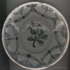 Antigüedades: PLATO CERAMICA ANTIGUA CATALANA CATALUNYA MEDIADOS SIGLO XIX AZUL LLEIDA ANTIGA PLAT ARRECADA. Lote 25014672