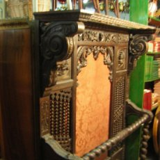 Antigüedades: ANTIGUO BENGALERO CASTELLANO EN MADERA LABRADA SIGLO XIX. Lote 27245117