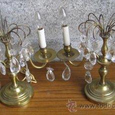 Antigüedades: PAREJA DE CANDELABROS - LAMPARAS .. DE BRONCE Y CRISTAL . Lote 21713880