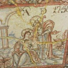 Antigüedades: BONITA PLACA CON TEMA RELIGIOSO POLICROMA AÑO DE 1750. Lote 27186578