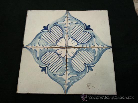 Cuatro Azulejos Formando Dibujo Siglo Xix Comprar Azulejos - Azulejos-con-dibujos