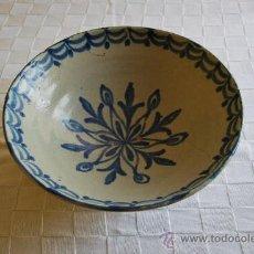 Antigüedades: LEBRILLO DE CERÁMICA DE FAJALAUZA - FUENTE DE GRAN TAMAÑO - PLATO SIGLO XVIII - XIX - GRANADA. Lote 27202615