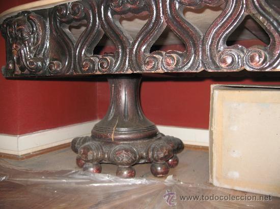 Antigüedades: Mesa de centro de madera tallada y marmol rosa - baratisima - Foto 2 - 110197139
