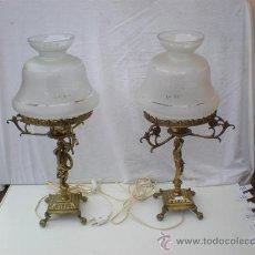 Antigüedades: PAREJA DE LAMPARAS DE BRONCES Y TULIPAS. Lote 21937234