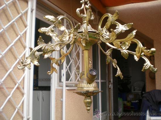 ANTIGUA LAMPARA DE TECHO DE BRONCE (Antigüedades - Iluminación - Lámparas Antiguas)