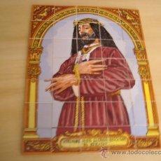Antigüedades: PRECIOSO AZULEJO CRISTO JESUS NAZARENO DE RESCATADO, EL RESCATAO, 29 X 38 , 35 AZULEJITOS, . Lote 22091455