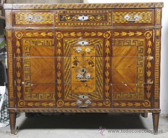 Antigüedades: Pareja de extraordinarias cómodas Carlos IV siglo XVIII. Con ricas marqueterias, - Foto 12 - 22099419