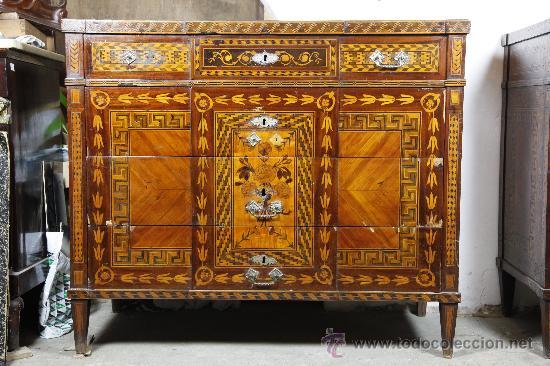 Antigüedades: Pareja de extraordinarias cómodas Carlos IV siglo XVIII. Con ricas marqueterias, - Foto 10 - 22099419
