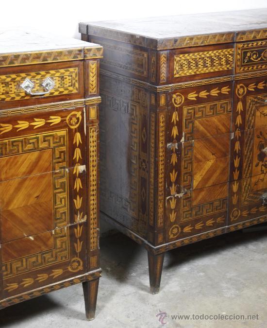 Antigüedades: Pareja de extraordinarias cómodas Carlos IV siglo XVIII. Con ricas marqueterias, - Foto 8 - 22099419