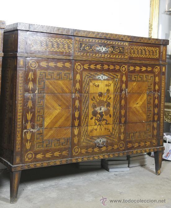 Antigüedades: Pareja de extraordinarias cómodas Carlos IV siglo XVIII. Con ricas marqueterias, - Foto 7 - 22099419