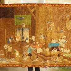 Antigüedades: ANTIGUO TAPIZ EFECTUADO A MANO-LA COCINA REAL- . Lote 22098429