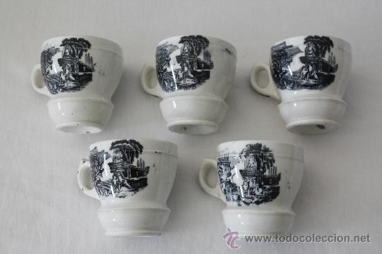 ANTIGUAS TAZAS DE LOZA. ALTURA: 6.5 CMS. MARCA ILEGIBLE EN BASE. VER FOTOS. (Antigüedades - Porcelanas y Cerámicas - Otras)
