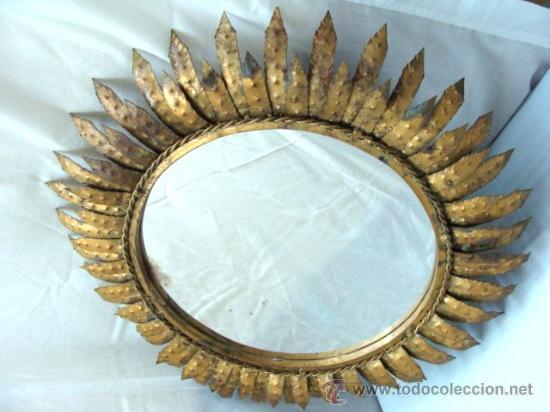 Antiguo Espejo Dorado Redondo De Hierro Con For Comprar