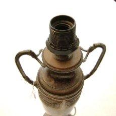 Antigüedades: SOPORTE PARA LAMPARA EN ALPACA PLATEADA. Lote 27423383
